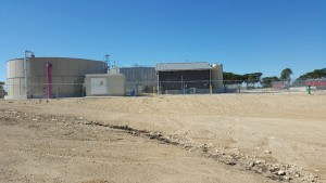 water treatment structure dirt field