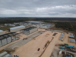 sky view of construction site